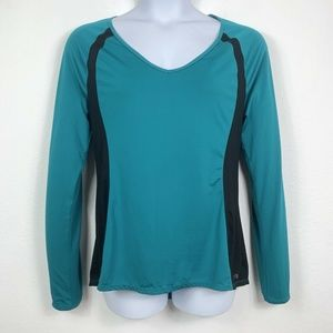 Ideology Womens Large Athletic Top Teal Black